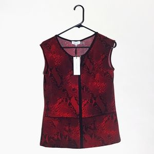 Calvin klein red python sleeveless top NWT size XS